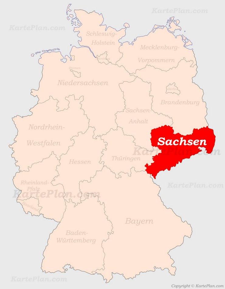 Sachsen auf der Deutschlandkarte