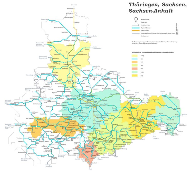 Schienennetz karte von Thüringen, Sachsen und Sachsen-Anhalt