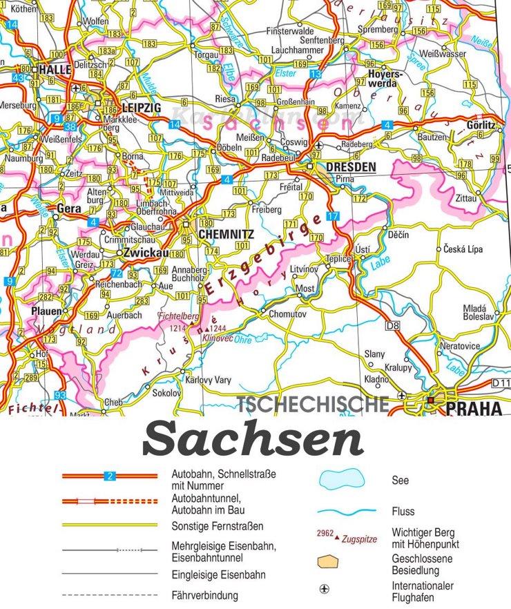 Straßenkarte von Sachsen