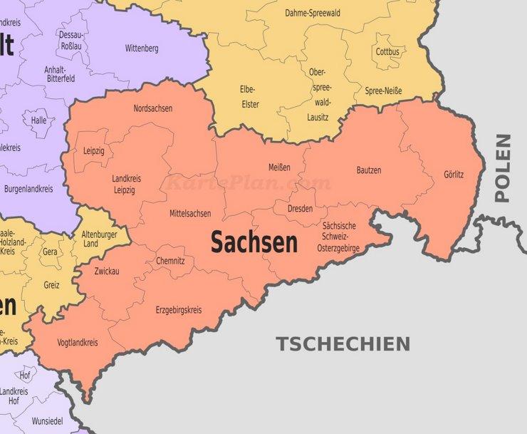 Verwaltungskarte von Sachsen