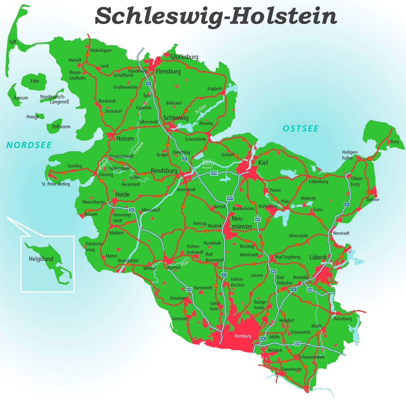 Schleswig Holstein Karte.Detaillierte Karte Von Schleswig Holstein
