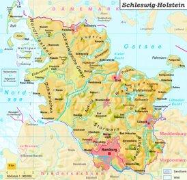 Physische landkarte von Schleswig-Holstein