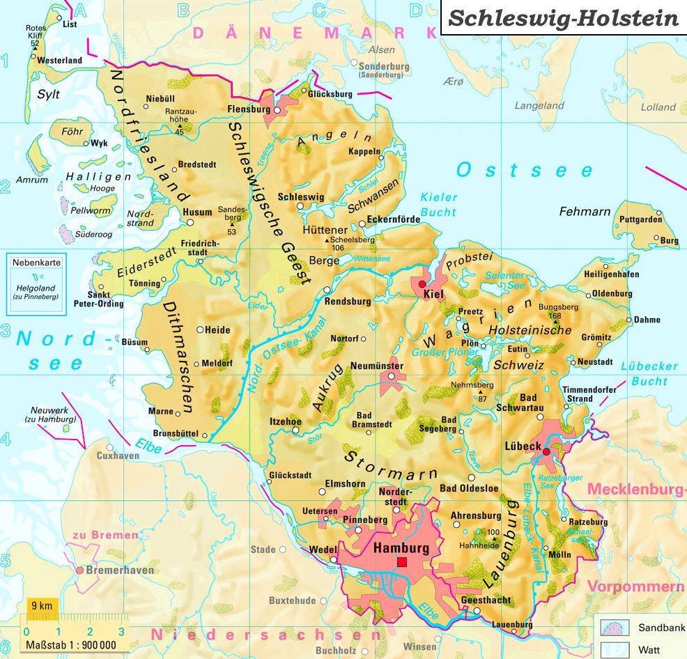karte schleswig holstein flüsse Physische landkarte von Schleswig Holstein
