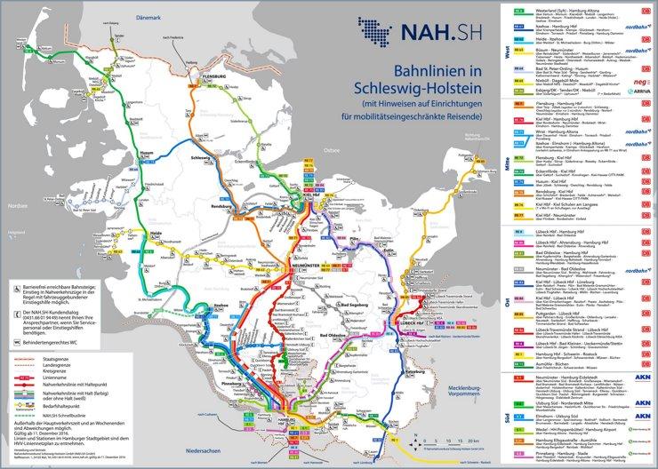 Schienennetz karte von Schleswig-Holstein