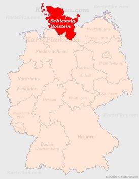 Schleswig-Holstein auf der Deutschlandkarte