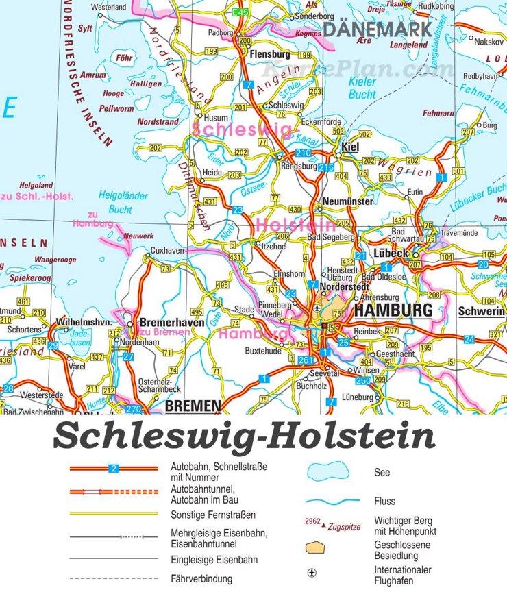 Straßenkarte von Schleswig-Holstein