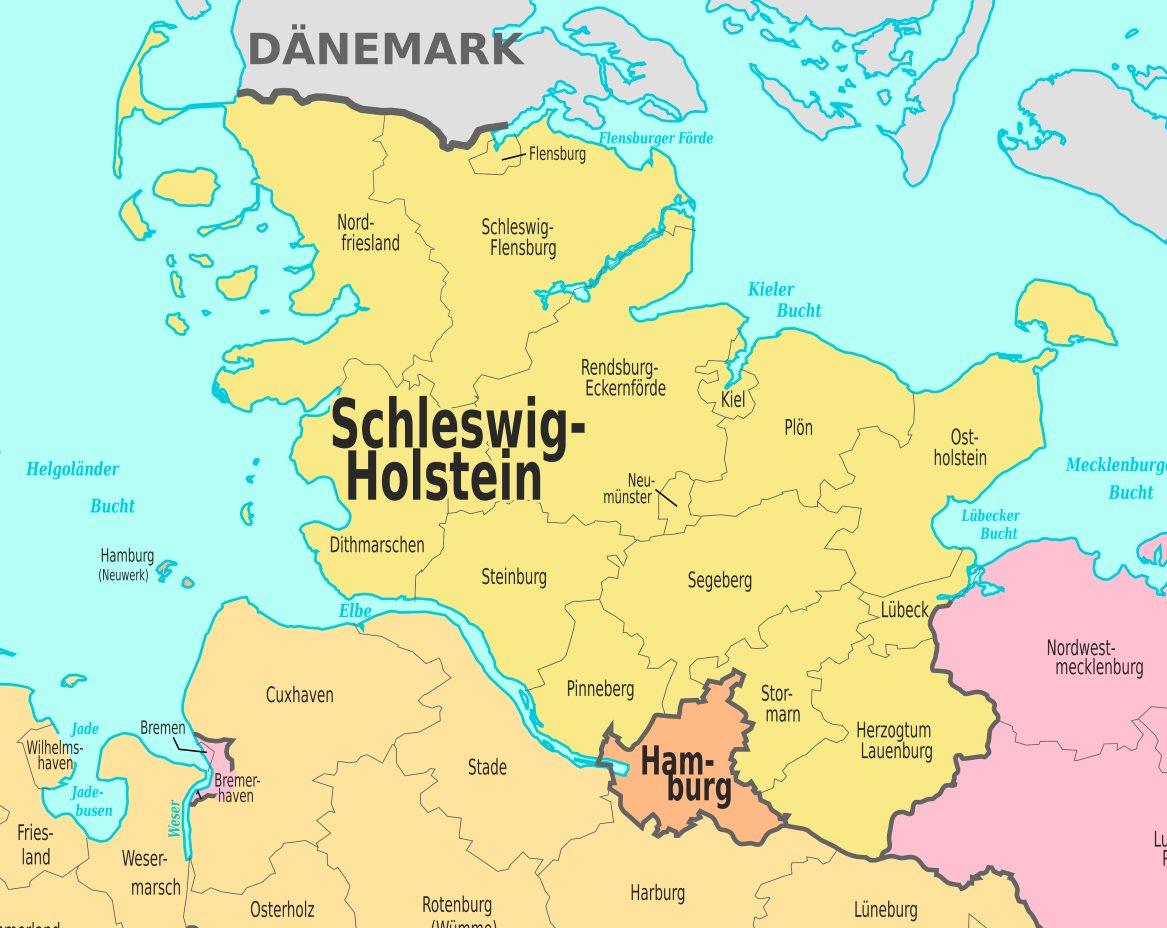 Schleswig Holstein Karte.Verwaltungskarte Von Schleswig Holstein
