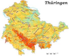Physische landkarte von Thüringen