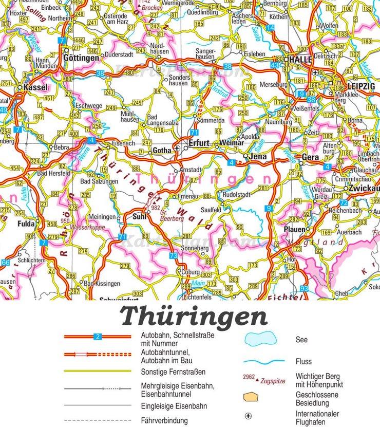Straßenkarte von Thüringen