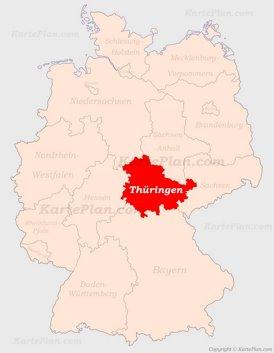 Thüringen auf der Deutschlandkarte