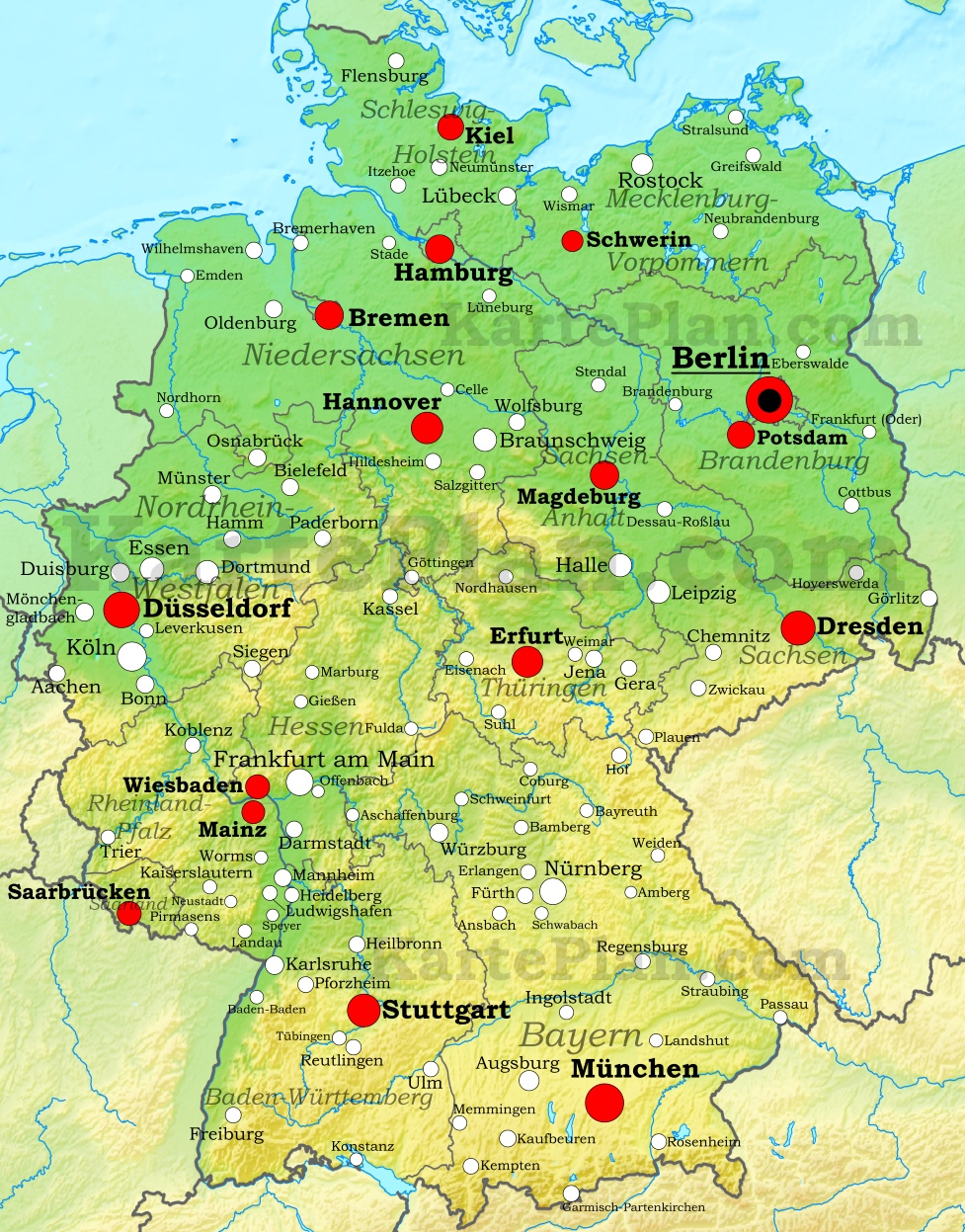 Germany Physical Map - Oldenburg map