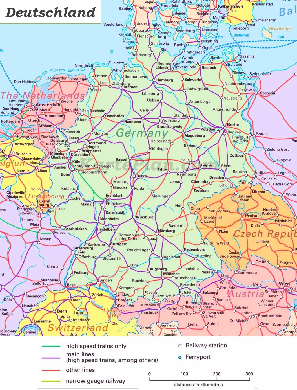 eisenbahnnetz deutschland karte Schienennetz Karte von Deutschland