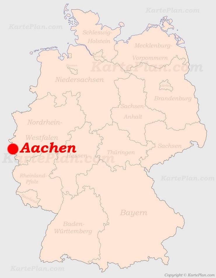 Aachen auf der Deutschlandkarte