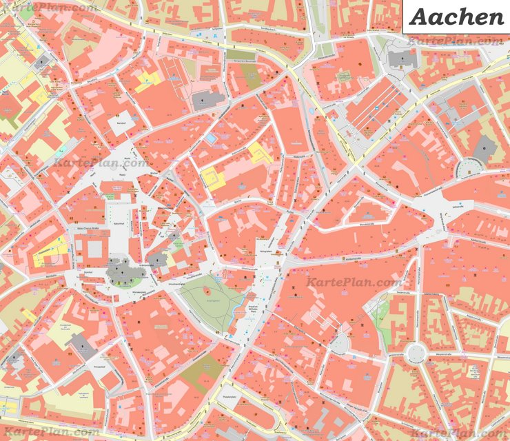 Karte von Aachens Stadtzentrum