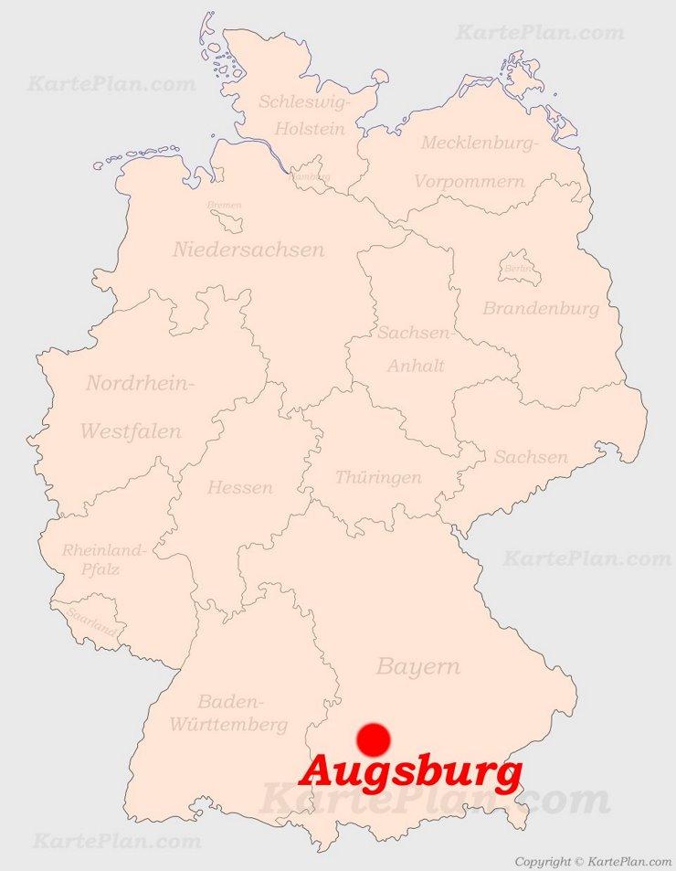 Augsburg auf der Deutschlandkarte