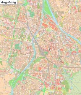 Große detaillierte stadtplan von Augsburg