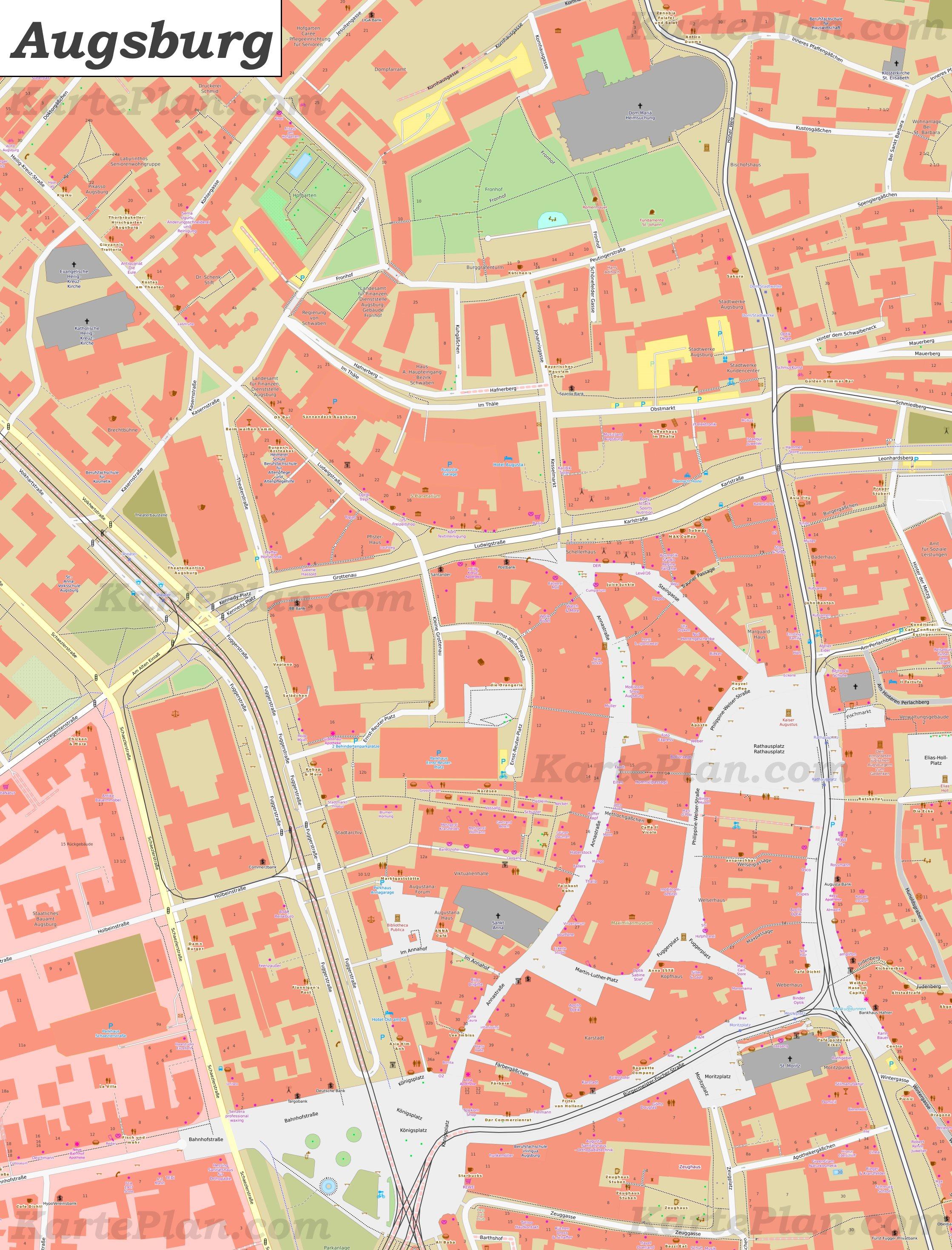Karte Augsburg.Karte Von Augsburgs Zentrum
