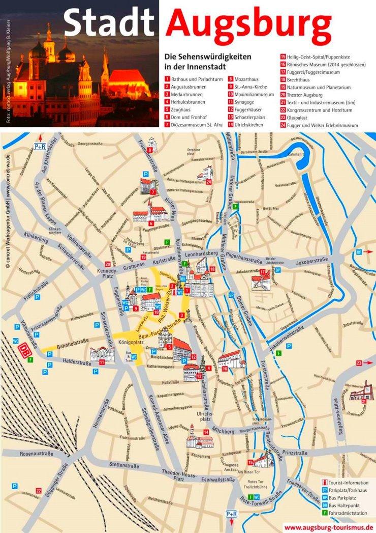 Stadtplan Augsburg mit sehenswürdigkeiten