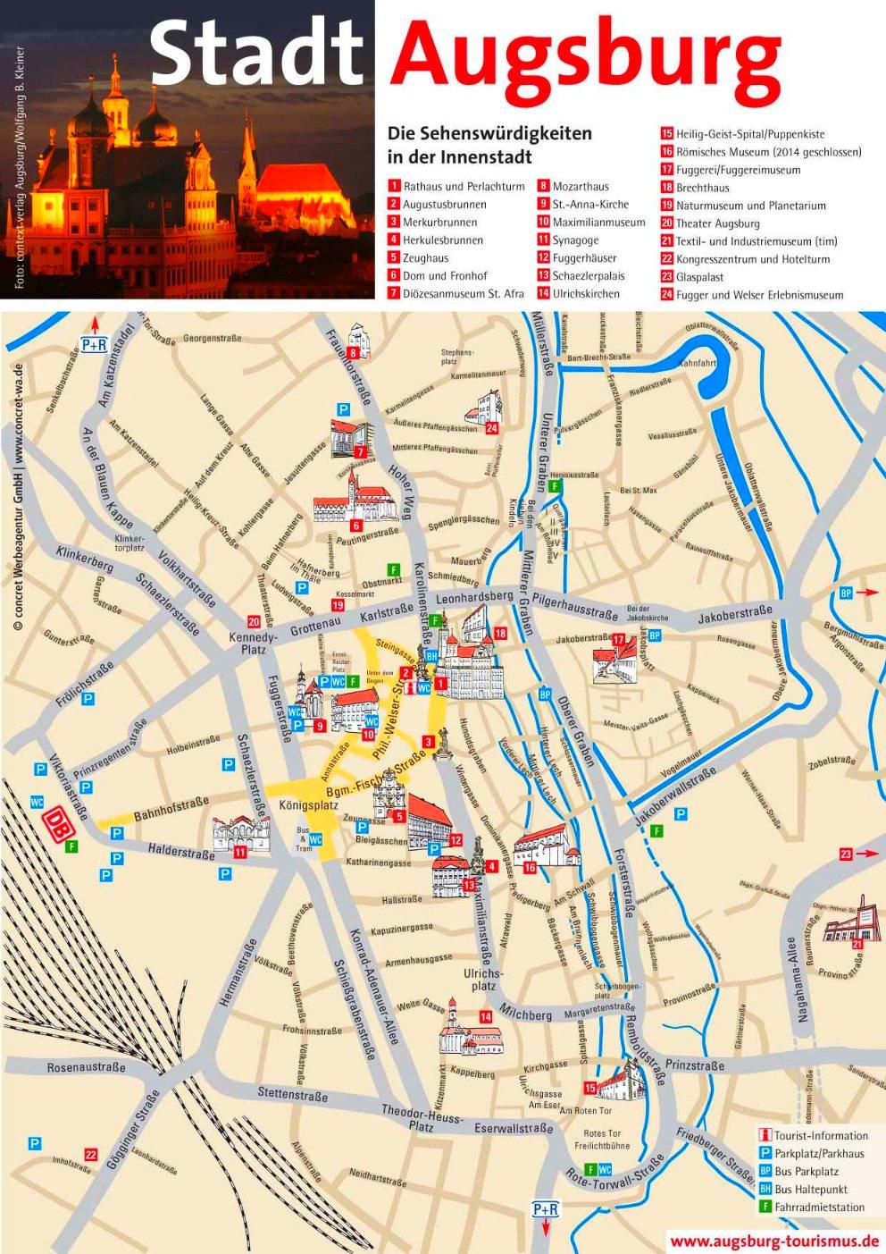 Karte Augsburg.Stadtplan Augsburg Mit Sehenswurdigkeiten