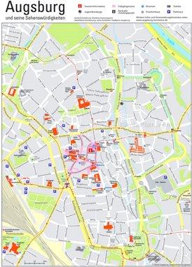 Touristischer stadtplan von Augsburg