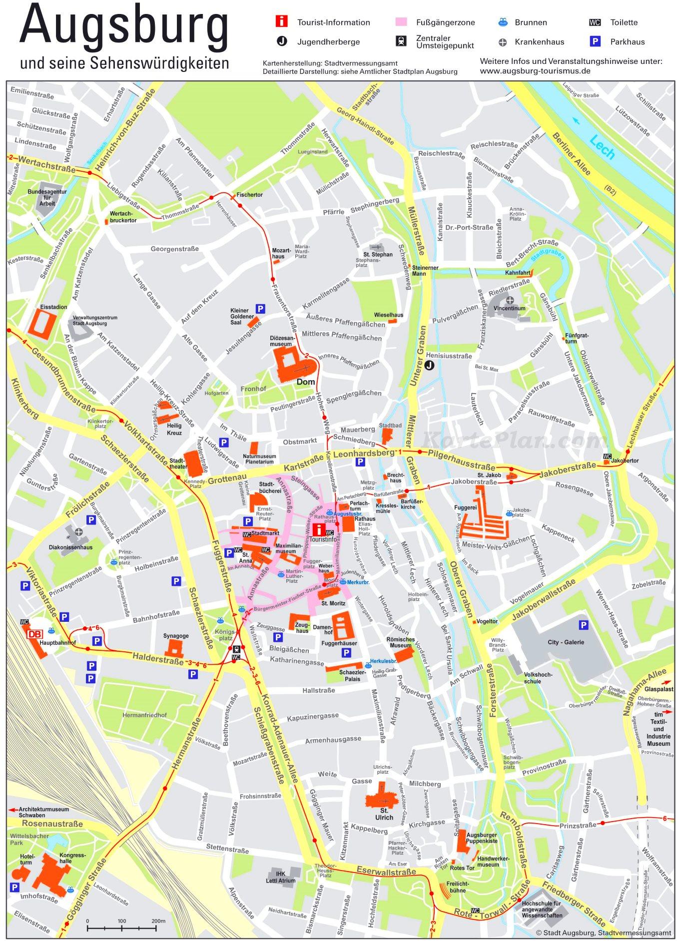 Karte Augsburg.Touristischer Stadtplan Von Augsburg