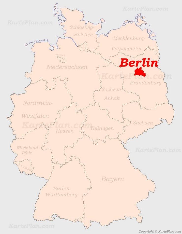 Berlin auf der Deutschlandkarte