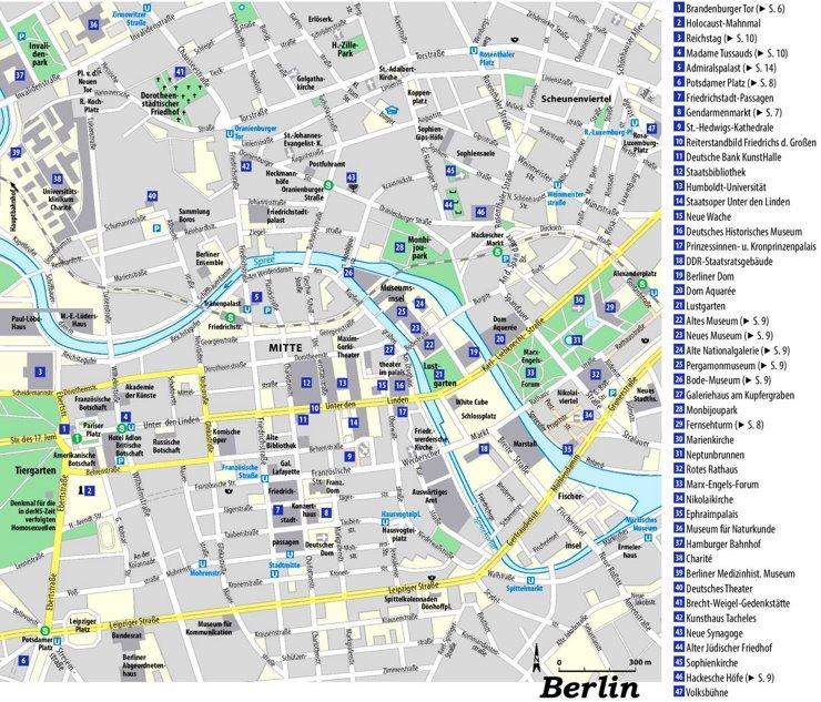 Stadtplan Berlin mit sehenswürdigkeiten