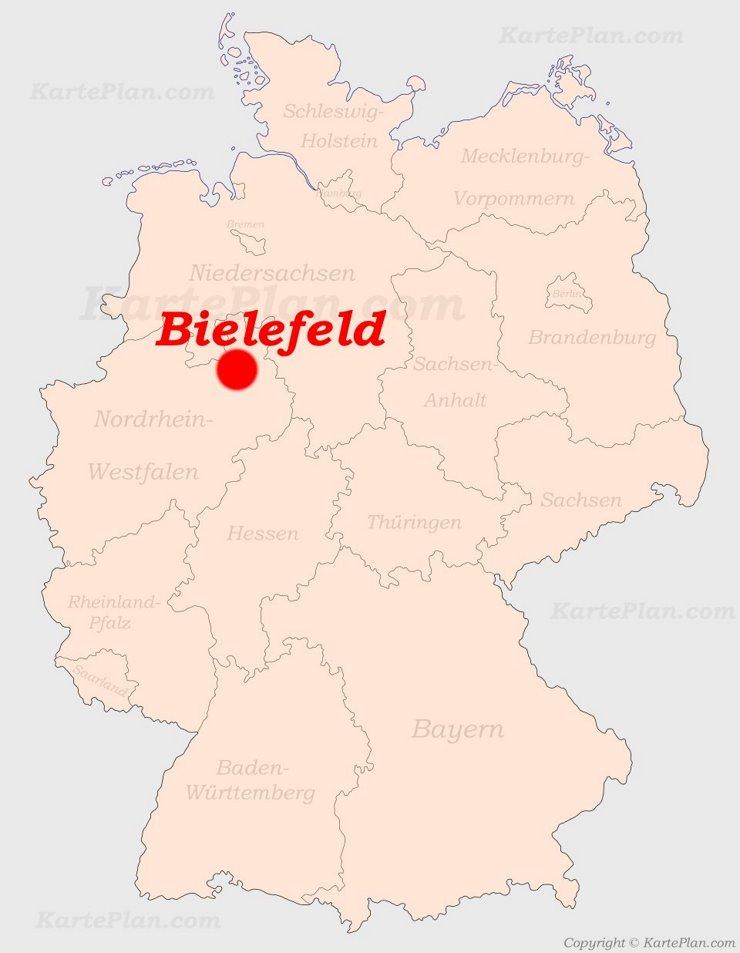 Bielefeld auf der Deutschlandkarte