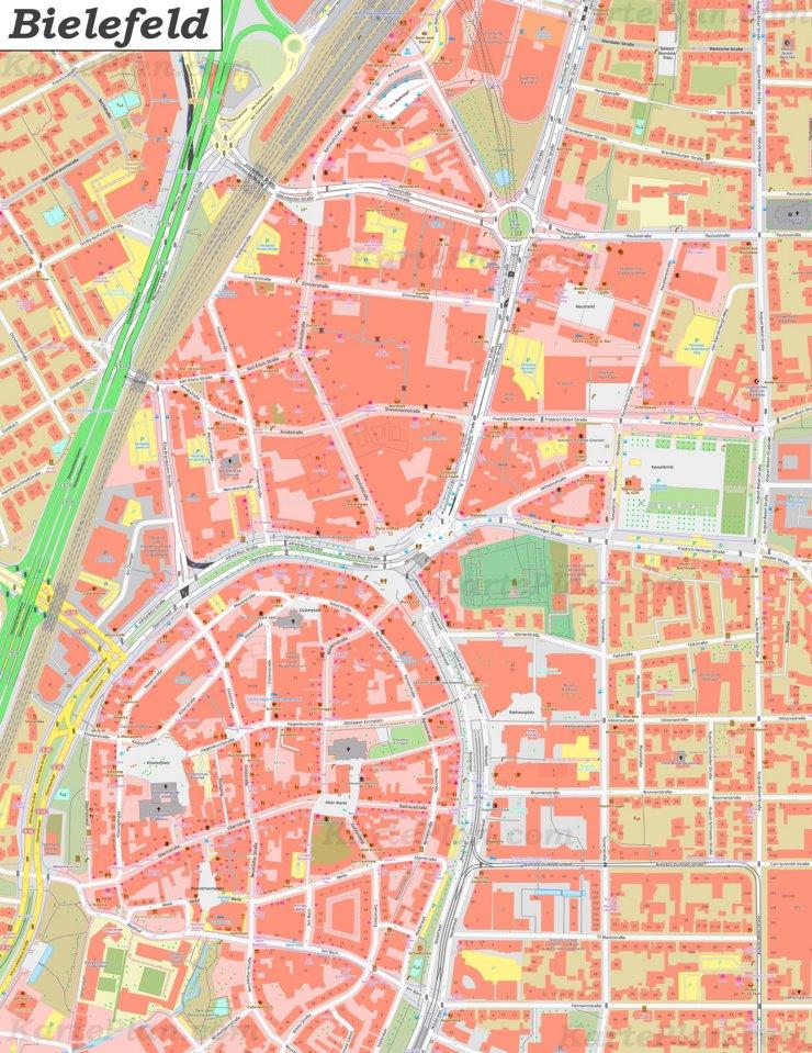 Karte von Bielefelds Zentrum