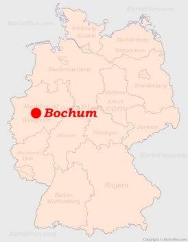 Bochum auf der Deutschlandkarte