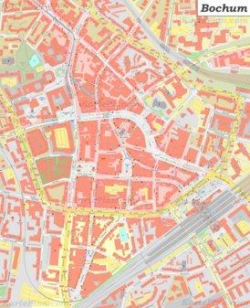 Karte von Bochums Zentrum