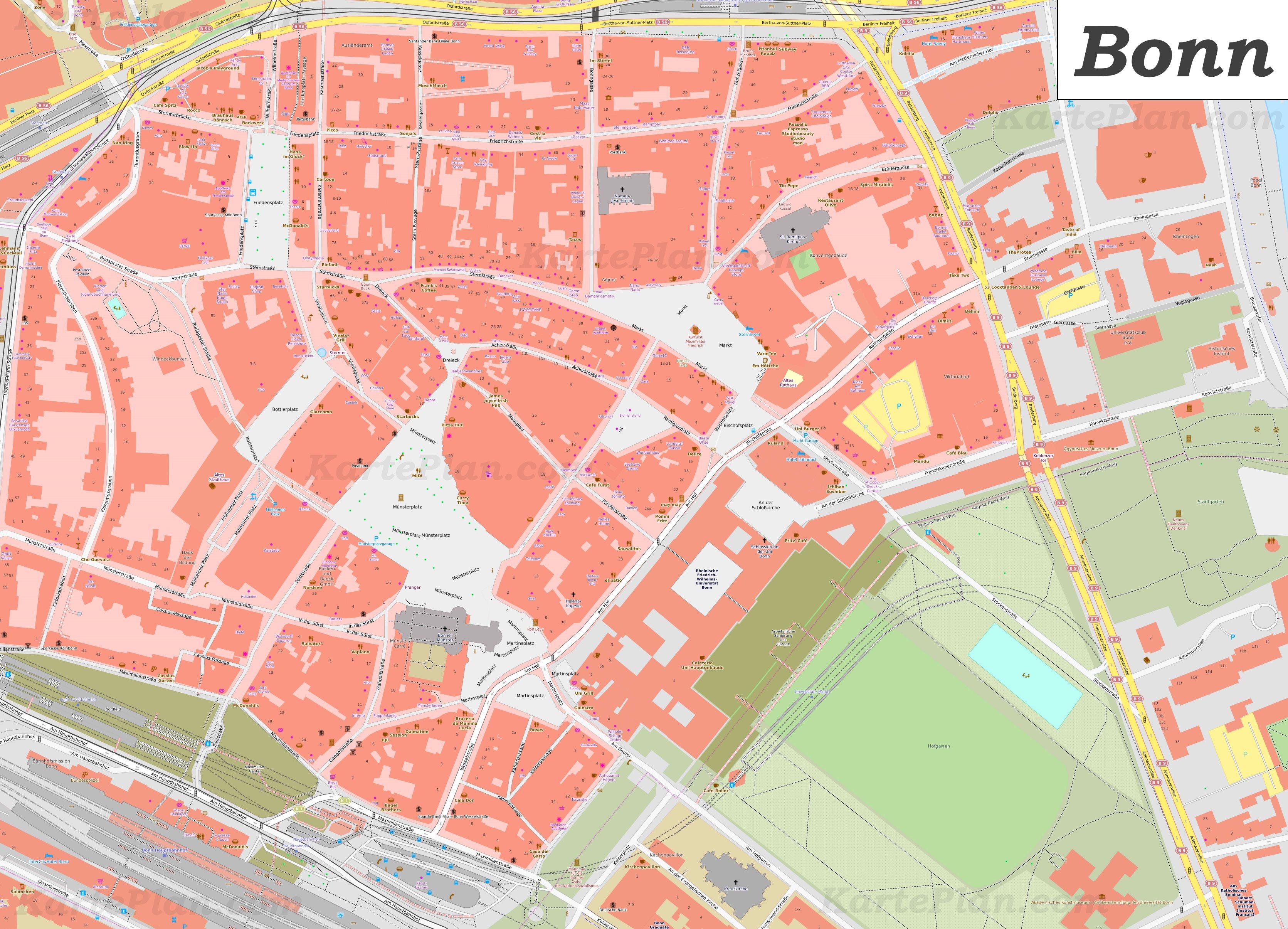 Bonn Karte.Karte Von Bonn Zentrum