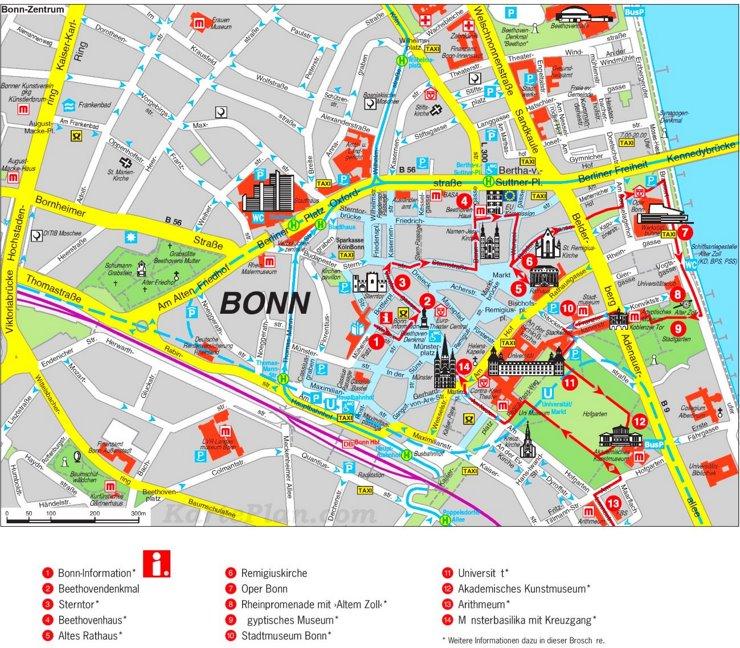 Stadtplan Bonn mit sehenswürdigkeiten