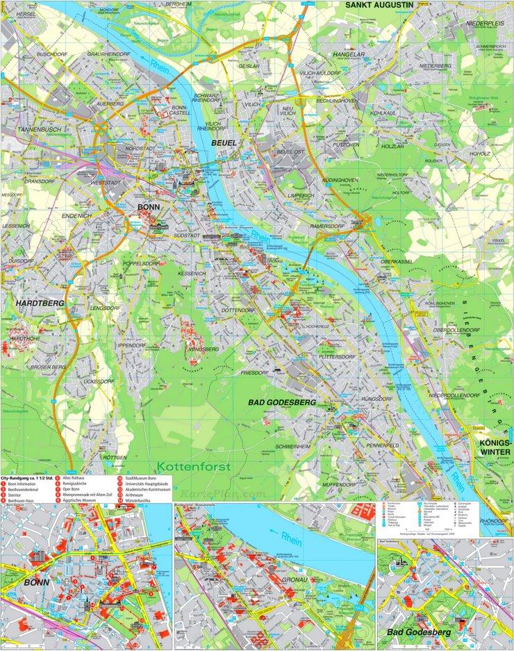 Touristischer stadtplan von Bonn