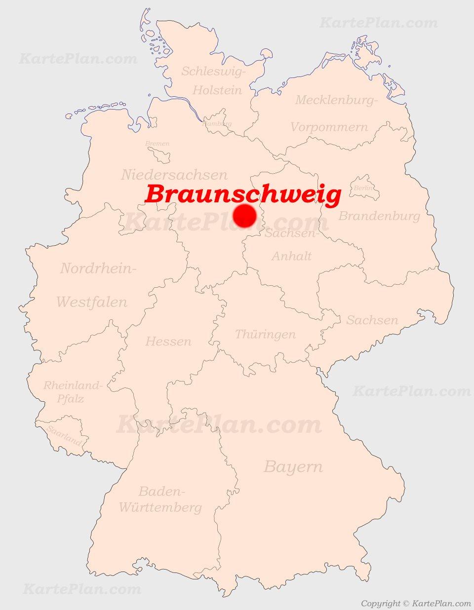 Braunschweig Auf Der Deutschlandkarte