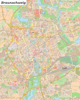 Große detaillierte stadtplan von Braunschweig