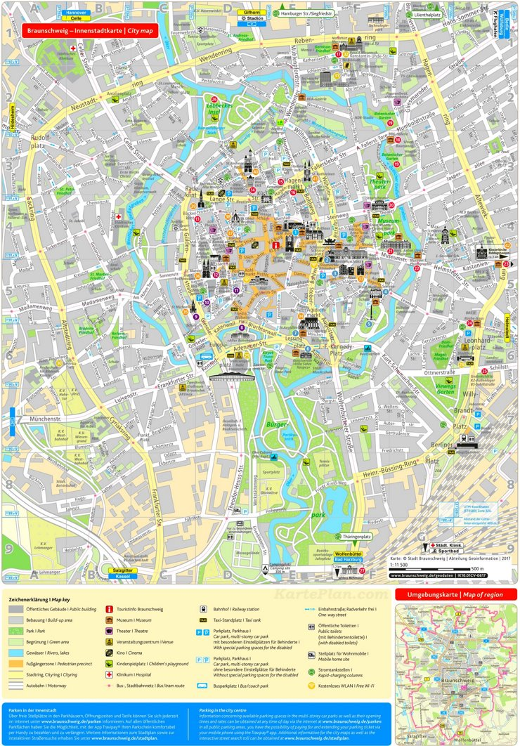 Touristischer stadtplan von Braunschweig