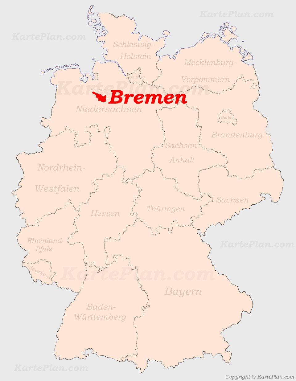 Bremen Auf Der Deutschlandkarte