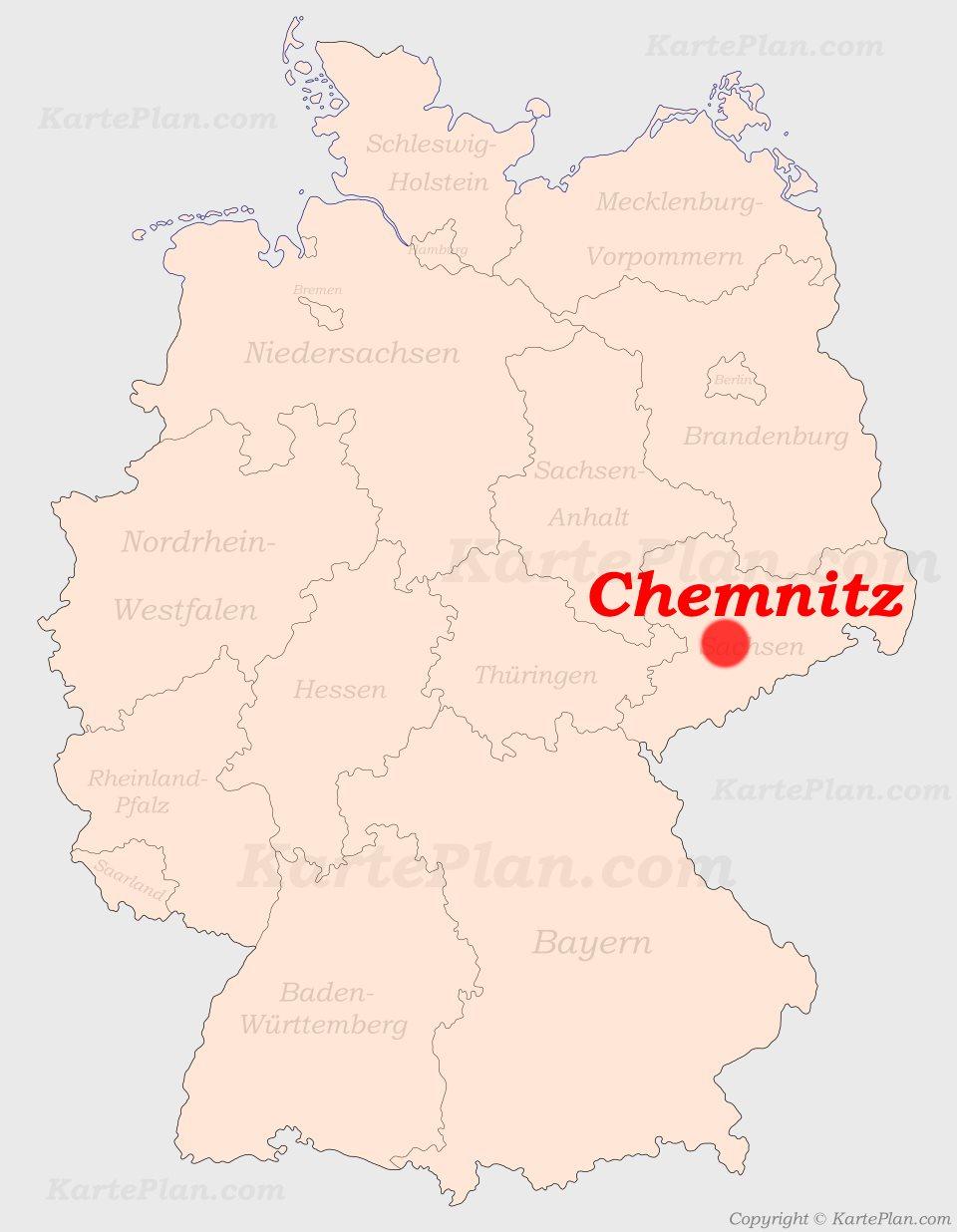 chemnitz karte deutschland Chemnitz auf der Deutschlandkarte