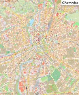 Große detaillierte stadtplan von Chemnitz