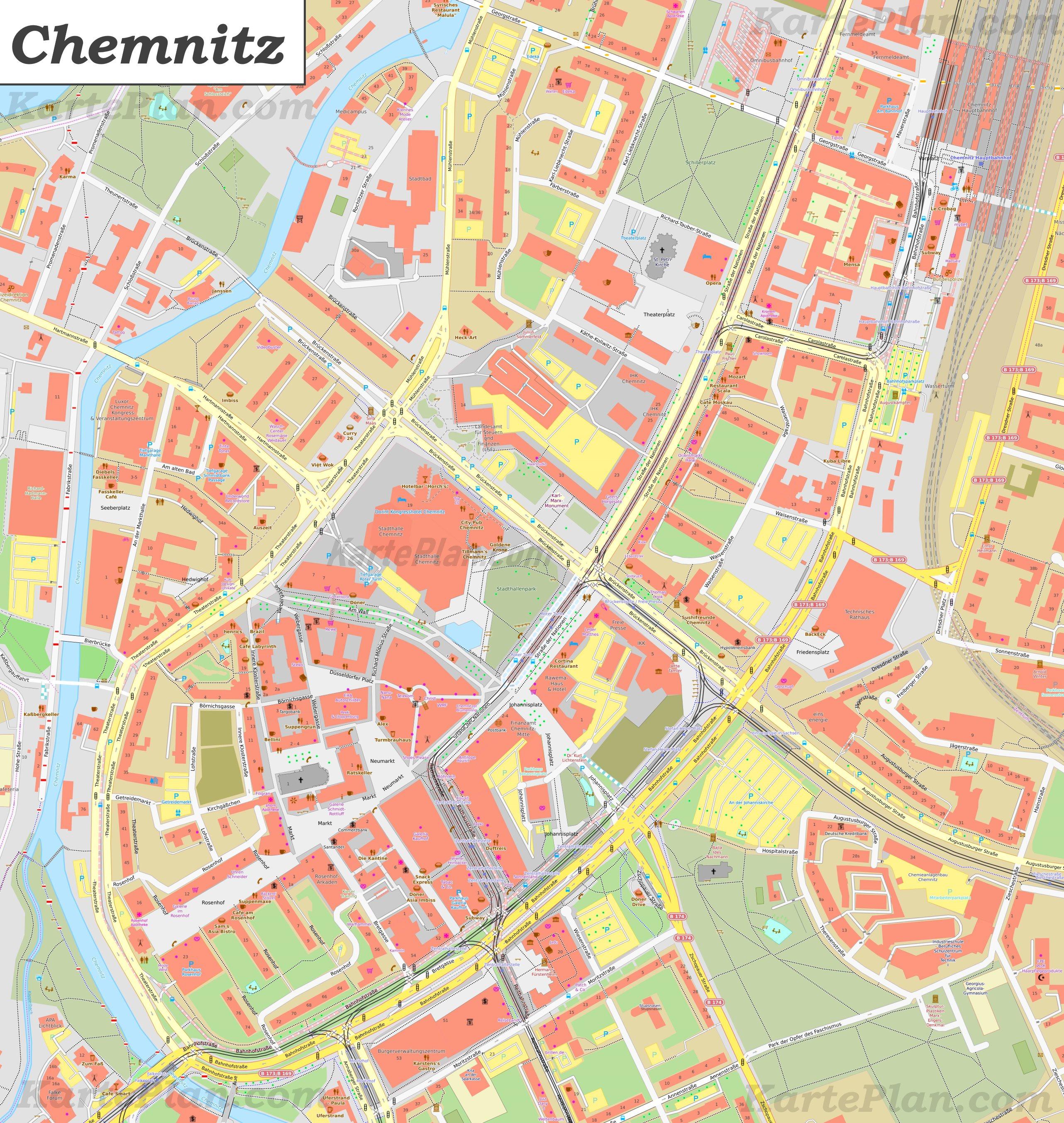 Karte Chemnitz.Karte Von Chemnitz Zentrum