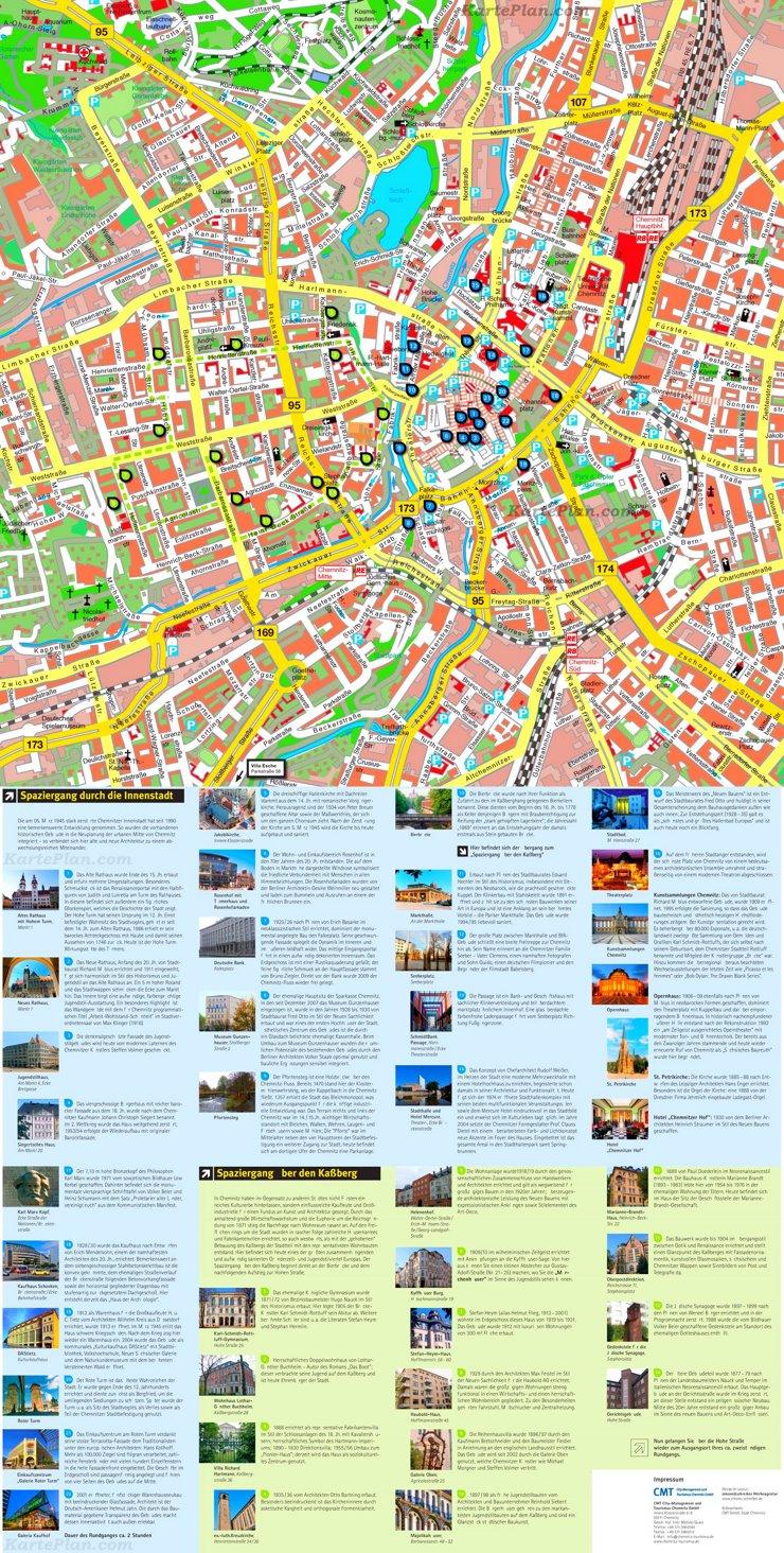 Stadtplan Chemnitz mit sehenswürdigkeiten