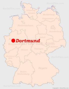 Dortmund auf der Deutschlandkarte