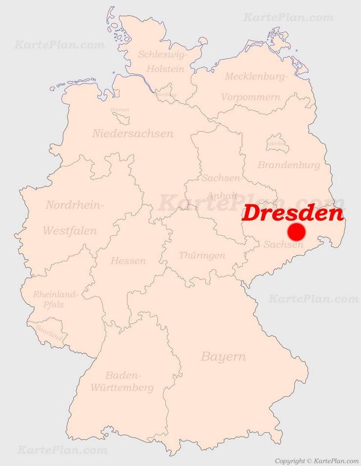 Dresden auf der Deutschlandkarte