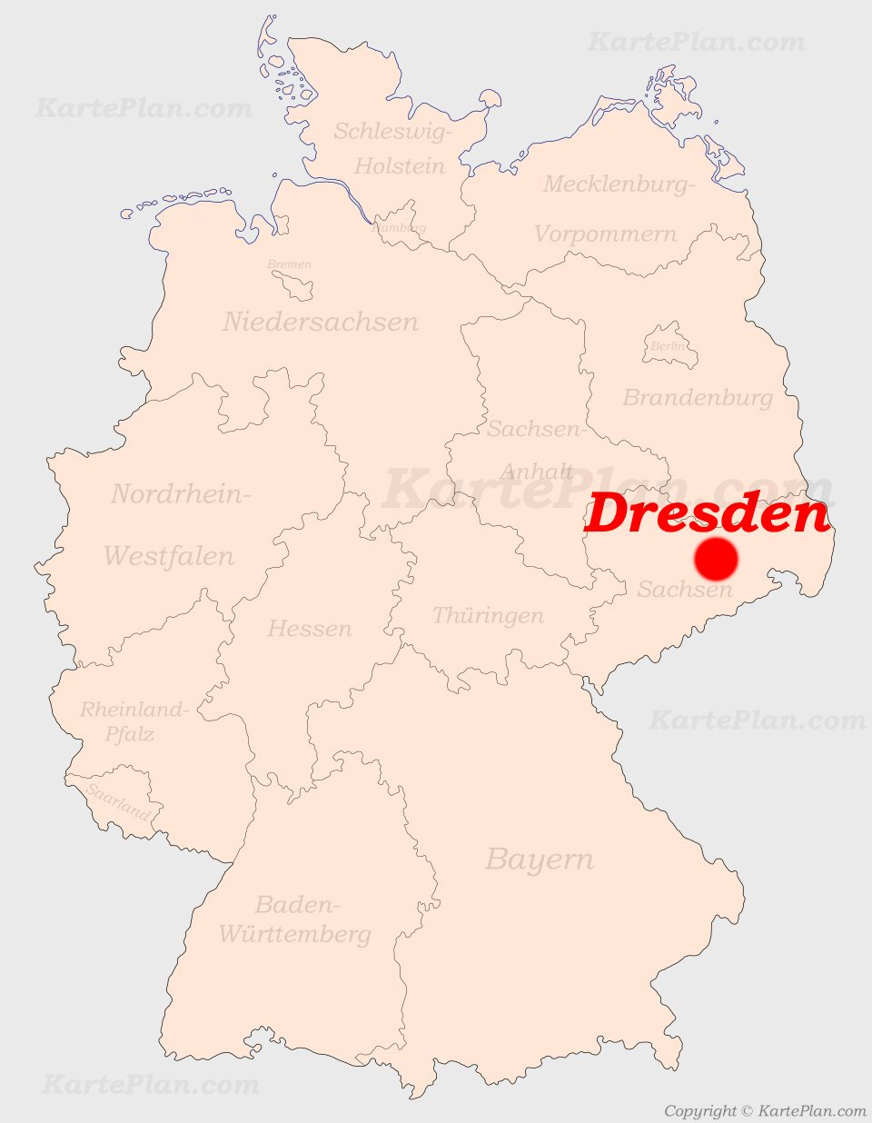 dresden landkarte deutschland Dresden auf der Deutschlandkarte