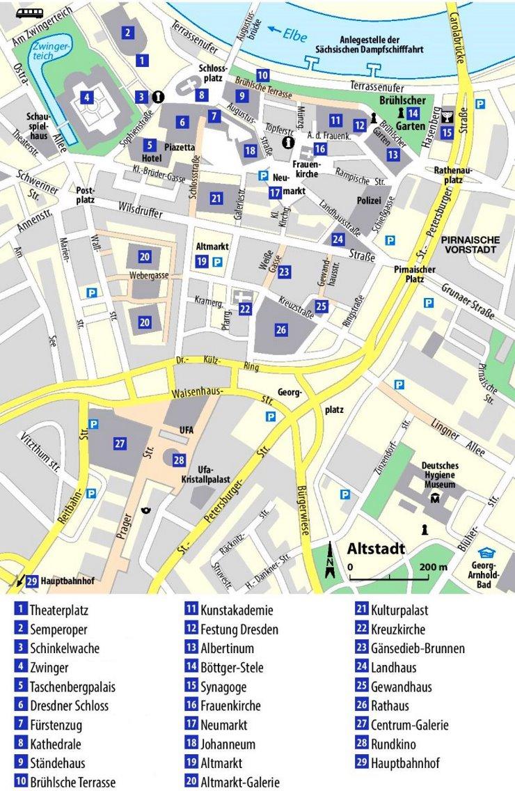 Dresden Innenstadtplan mit sehenswürdigkeiten