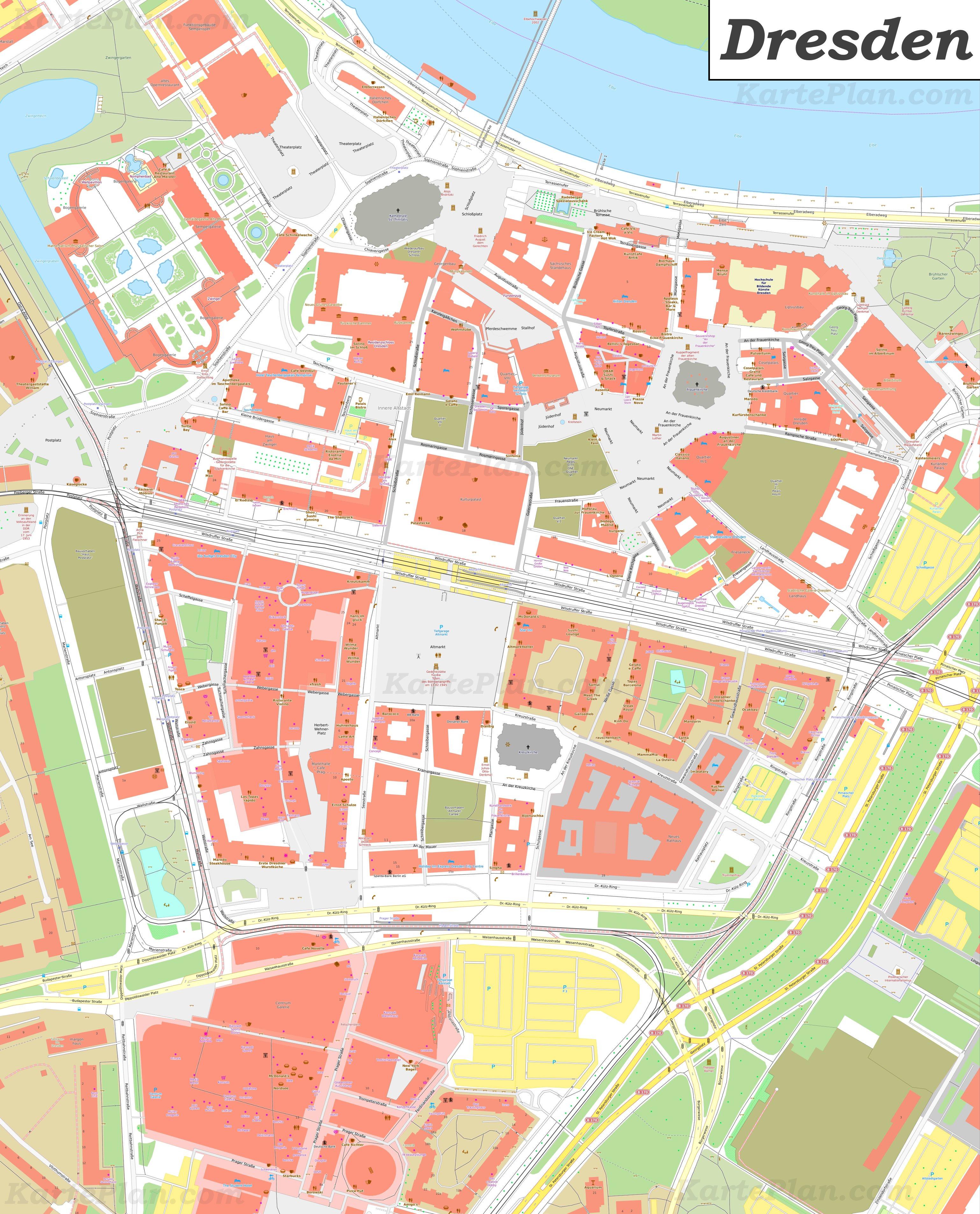altstadt dresden karte Karte von Dresdens Altstadt