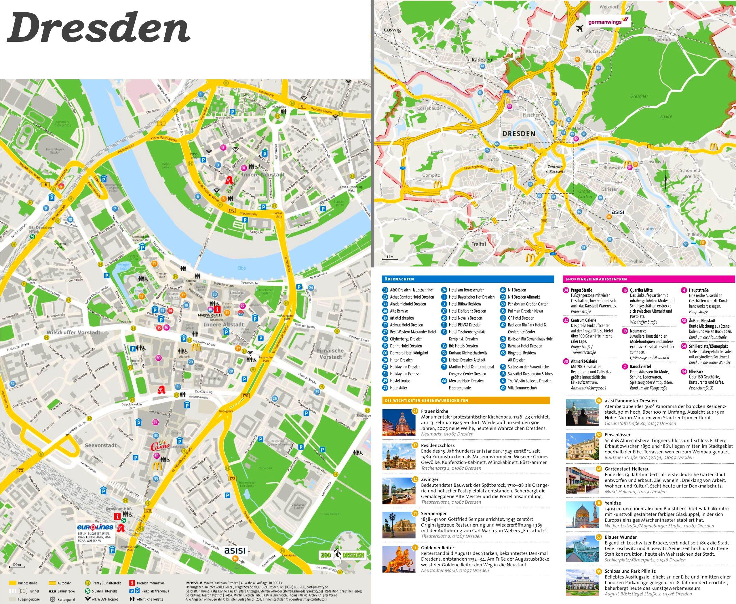 karte von dresden Touristischer stadtplan von Dresden