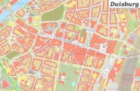 Karte von Duisburgs Zentrum