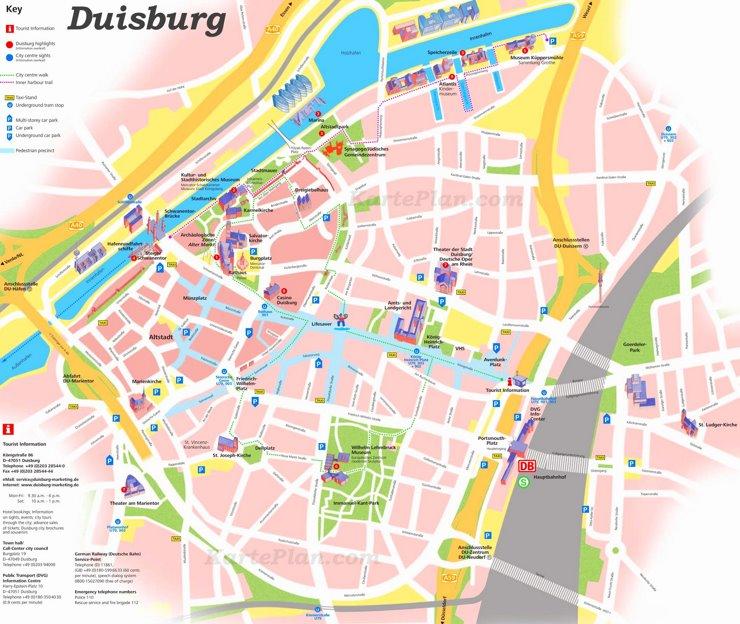 Touristischer stadtplan von Duisburg